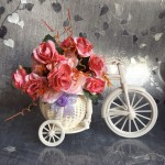 Plastic-bicycle-font-b-vase-b-font-with-artificial-flowers-rose-set-fake-flower-font-b